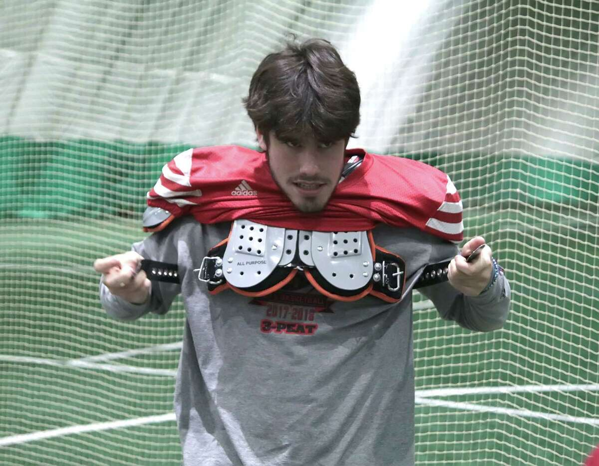 With his eyes on the Carrier Dome and a state title, David Barclay suits up during the Glens Falls Indians team practice at Adirondack Sports Complex in Queensbury Tuesday, November 13, 2018. The Indians face Marlboro for the Class B state semifinal Saturday in Middletown. (Ed Burke photo-Special to the Times Union)