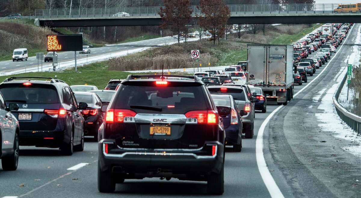 Traffic is crawling as the DOT sign says it all on I-87 Southbound, Ice and Snow Wednesday Nov. 14, 2018 in Round Lake, N.Y. (Skip Dickstein/Times Union)