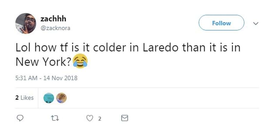 @zacknora: Lol how tf is it colder in Laredo than it is in New York? Photo: Twitter Screengrabs