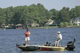 Professional angler Boyd Duckett fishes on Lake Conroe during Thursday's Pro-Am at the Toyota Texas Bass Classic.
