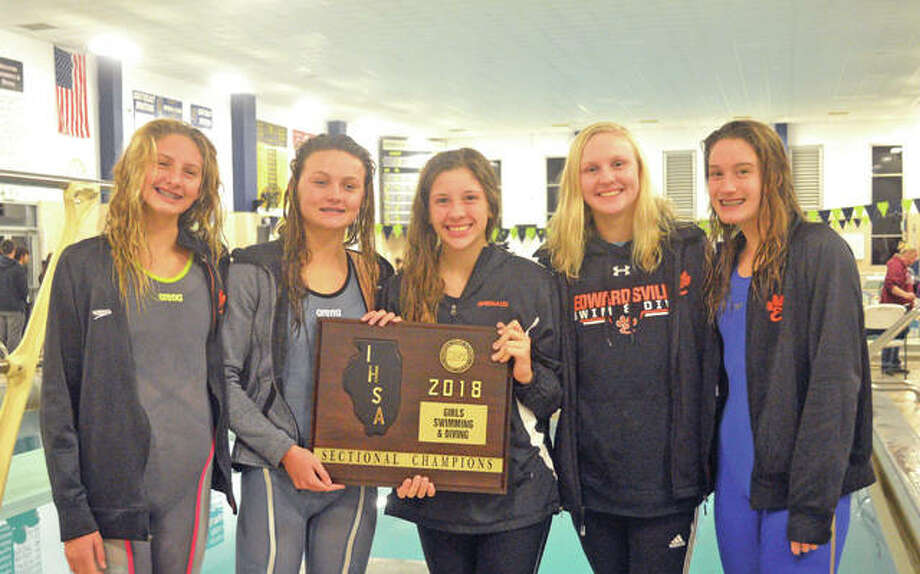 State qualifiers for the Edwardsville girls' swim team include, from left to right, Savannah Grinter, Autumn Grinter, Phoebe Gremaud, Allison Naylor and Josie Bushell. The girls will represent EHS in eight events at the state meet, which is slated for Friday and Saturday at Evanston Township High School. Photo: Scott Marion/Intelligencer