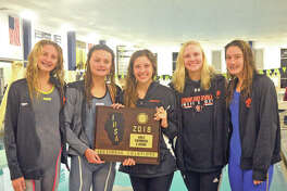 State qualifiers for the Edwardsville girls' swim team include, from left to right, Savannah Grinter, Autumn Grinter, Phoebe Gremaud, Allison Naylor and Josie Bushell. The girls will represent EHS in eight events at the state meet, which is slated for Friday and Saturday at Evanston Township High School.