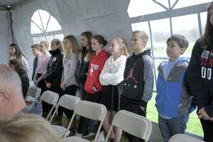 Students listen to speakers at Friday's groundbreaking ceremony Nov. 9 at Shepaug Valley School's agriscience and science lab renovation and construction project.