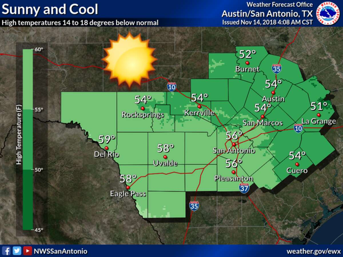 The forecast Wednesday includes sunny skies and cool temperatures.