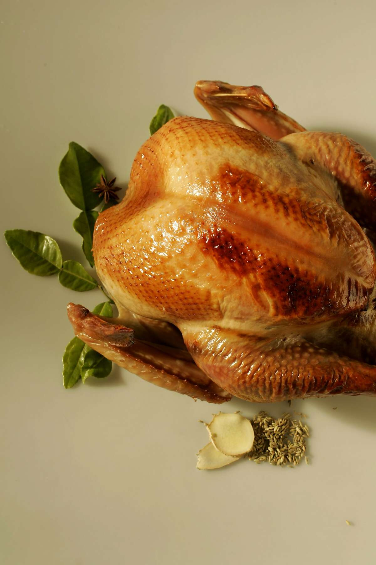 Thanksgiving food, styled by Kate Benfield. Photo of a roasted turkey on 10/30/04 in San Francisco.
