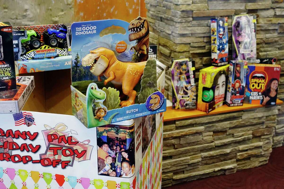 A view of some donated toys at a Albany Police Athletic League event at CAP COM Federal Credit Union on Wednesday, Nov. 14, 2018, in Albany, N.Y. PAL held the event to announce the kickoff of their PAL Holiday Toy Drive. Drop boxes where new unwrapped gifts for boys and girls through age 12 will be located at all 11 CAP COM branches, Phillips Hardware and Albany Police headquarters. PAL also accepts gift cards, which make good gifts for the older children. PAL is looking to get 2,500 toys to needy children this holiday. PAL's Price Chopper/Market 32 Capital Holiday Lights will have their opening ceremony Thursday evening with Saturday, Sunday and Monday being walk-through events at the Capital Holiday Lights. The Capital Holiday Lights opens to vehicle traffic on Black Friday. Capital Holiday Lights is always looking for volunteers, especially electricians. (Paul Buckowski/Times Union)