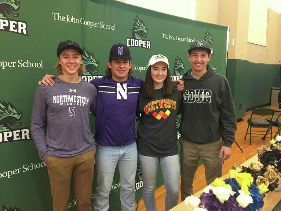 From left: Evan Minarovic (Northwestern, baseball), Reed Smith (Northwestern, baseball), Logan Leax (George Washington, baseball) and Peyton Tague (Wentworth, volleyball) signed their National Letters on Intent on Wednesday morning. Photo: Jon Poorman
