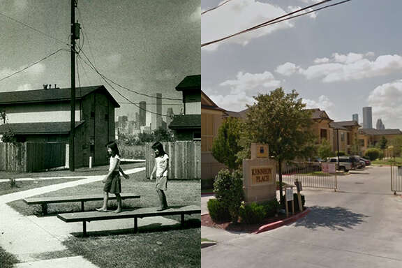 Then and now  A Houston Chronicle file photo from 1983 and a Google Earth streetview image show the Kennedy Place apartments.  >>>See more photos showing Fifth Ward's history, and how the places appear today...