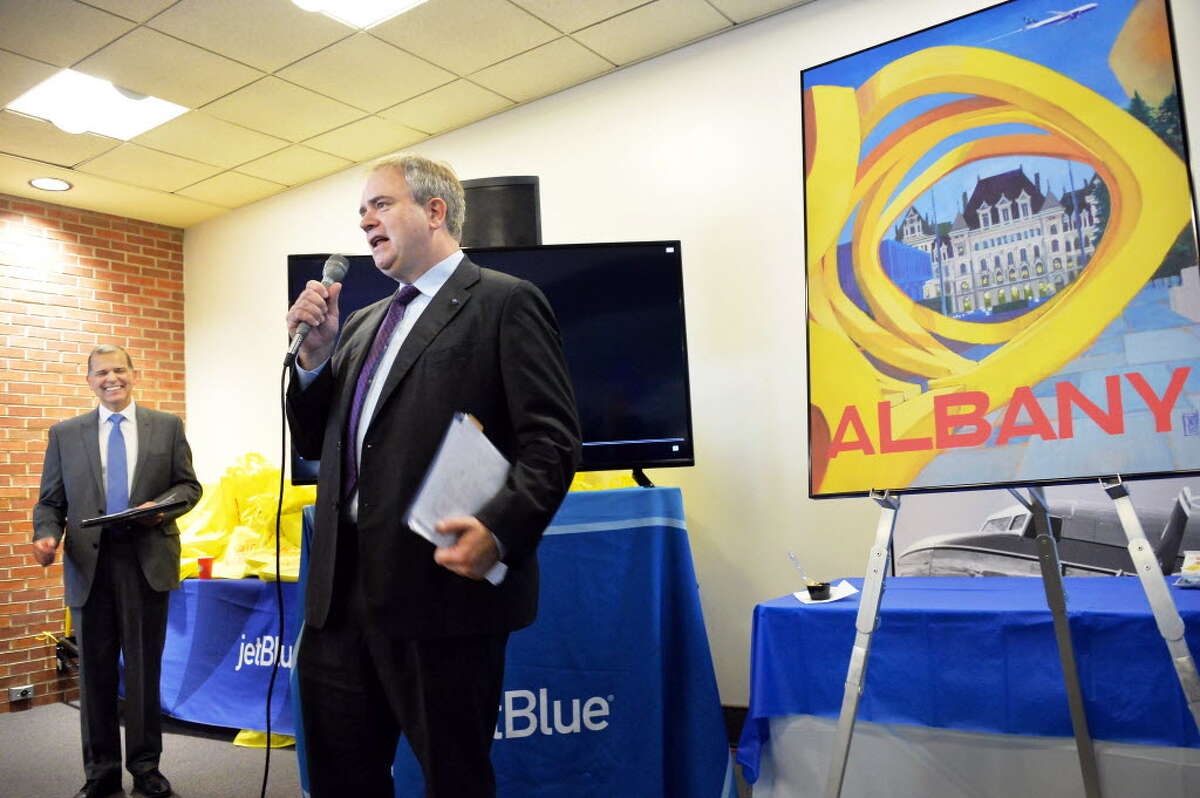 JetBlue CEO Robin Hayes at the launch of service between Albany and Florida in 2015. (John Carl D?Annibale/ Times Union)