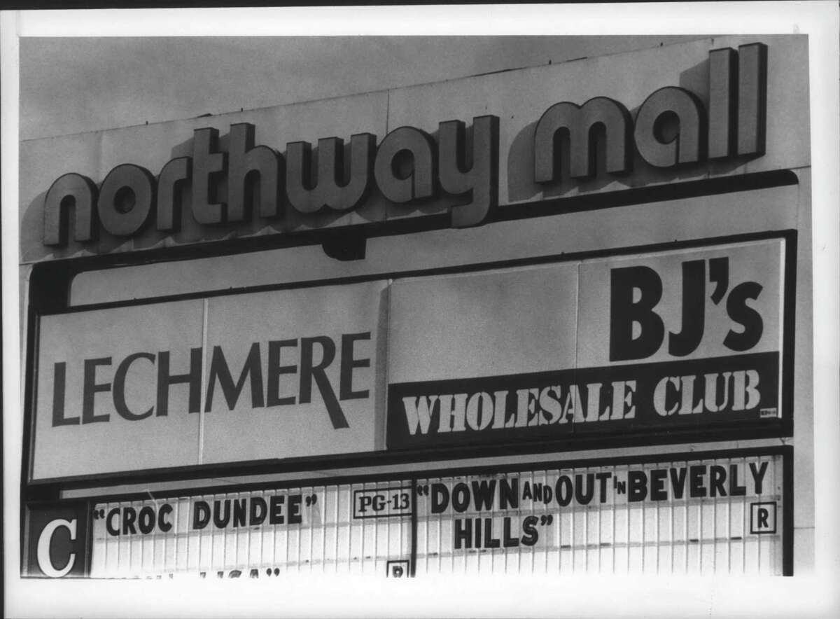 Exterior sign for Northway Mall, Colonie, New York lists some of the stores. October 6, 1986 (Times Union Archive)