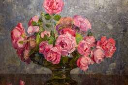 """Roses in Glass Bowl"" by George Laurence Nelson"