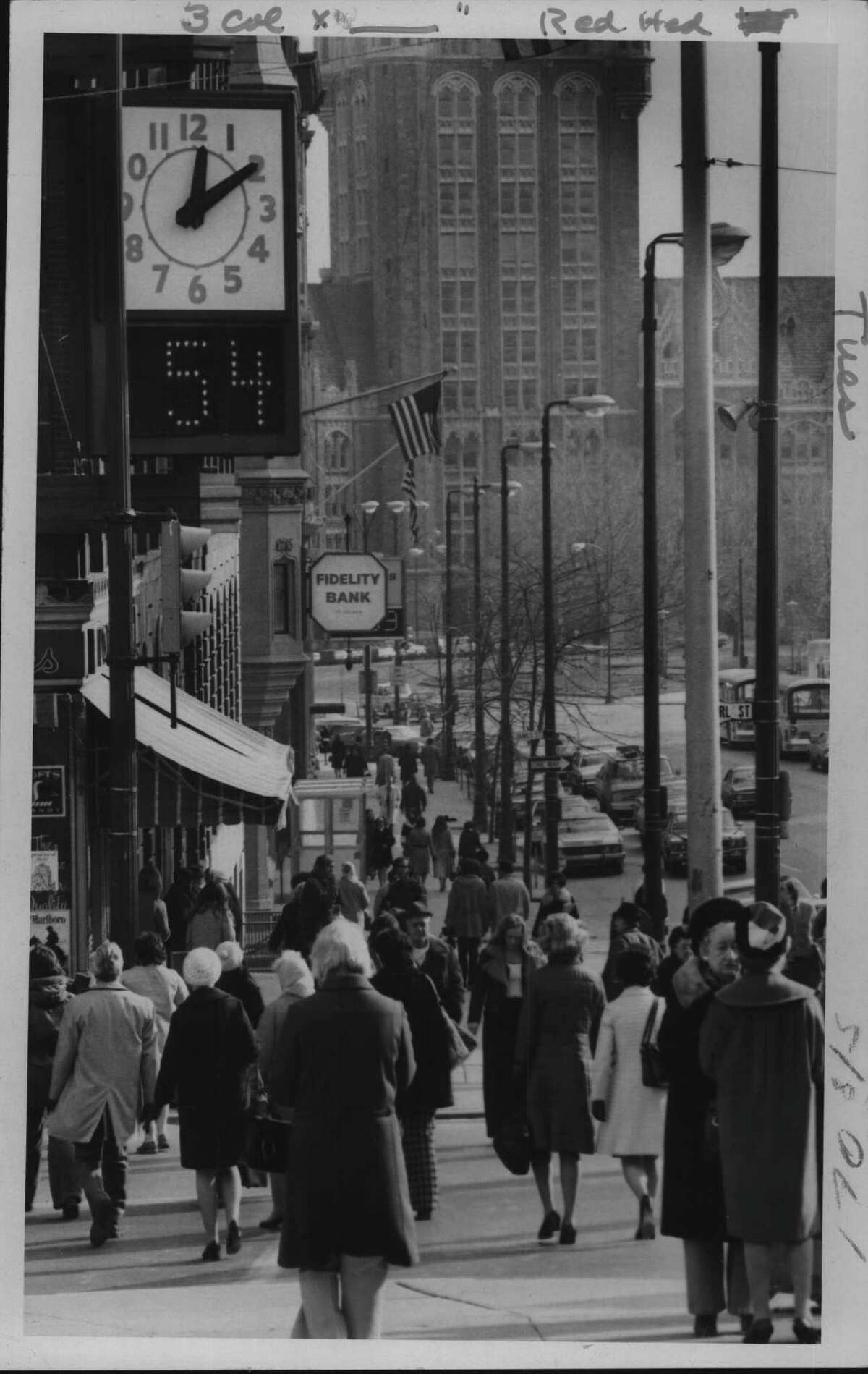 Albany, New York - Looking east on State Street towards North Pearl Street - 12:10pm - 54 degrees. December 4, 1973 (Bob Richey/Times Union Archive)