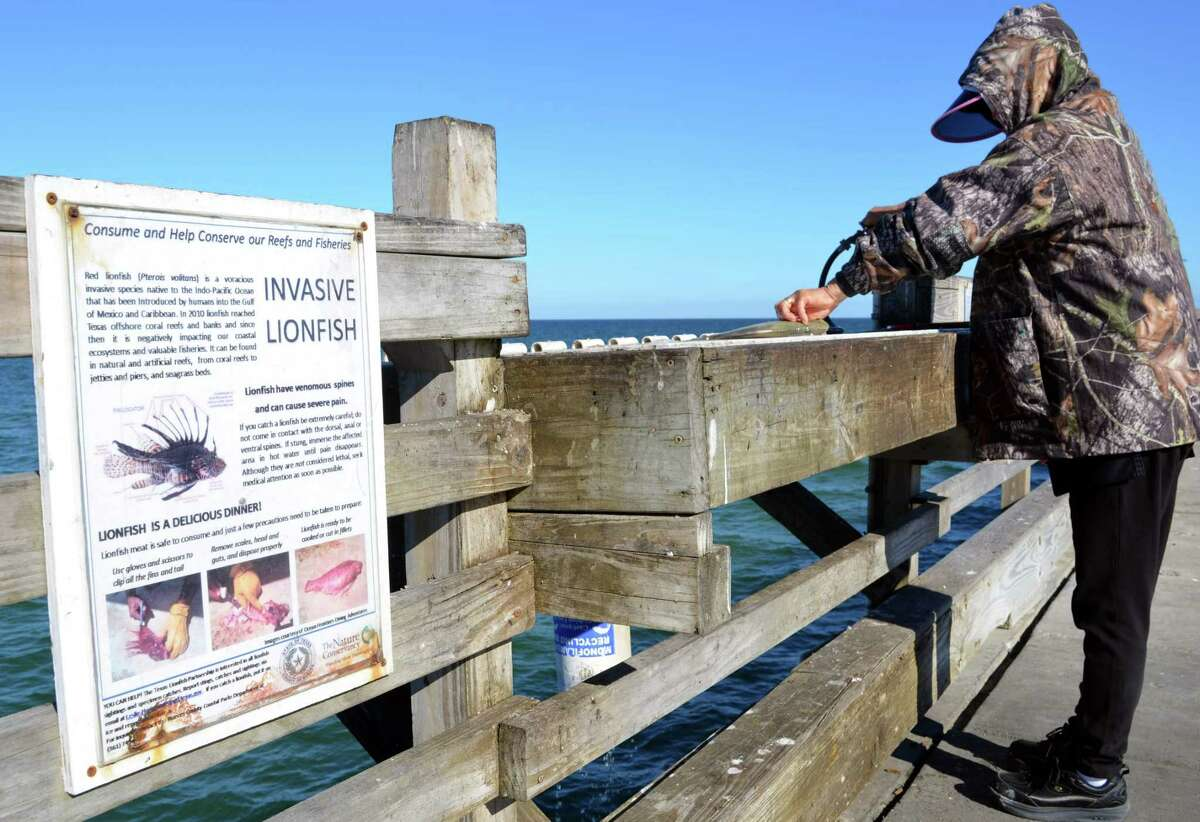 This sign on Bob Hall Pier in North Padre Island advised anglers in 2016 on how to safely handle and clean the venomous lionfish that have been inching their way into the Texas Gulf Coast area.