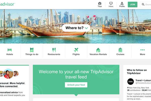 The 'new' TripAdvisor's home page.