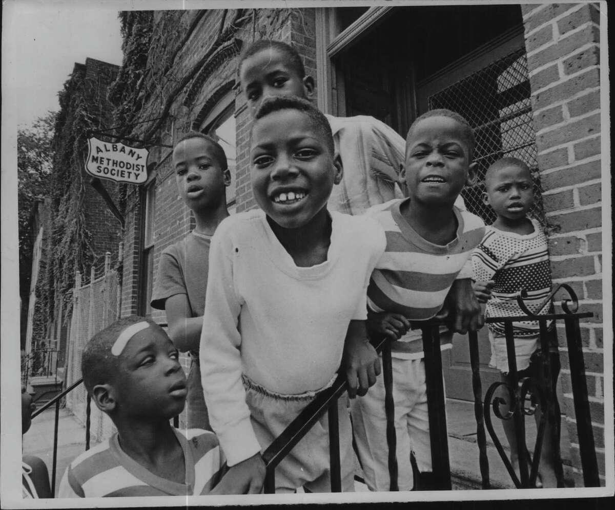 Teen Club outside Albany Methodist Society Inc., New York. August 12, 1967 (Bob Paley/Times Union Archive)