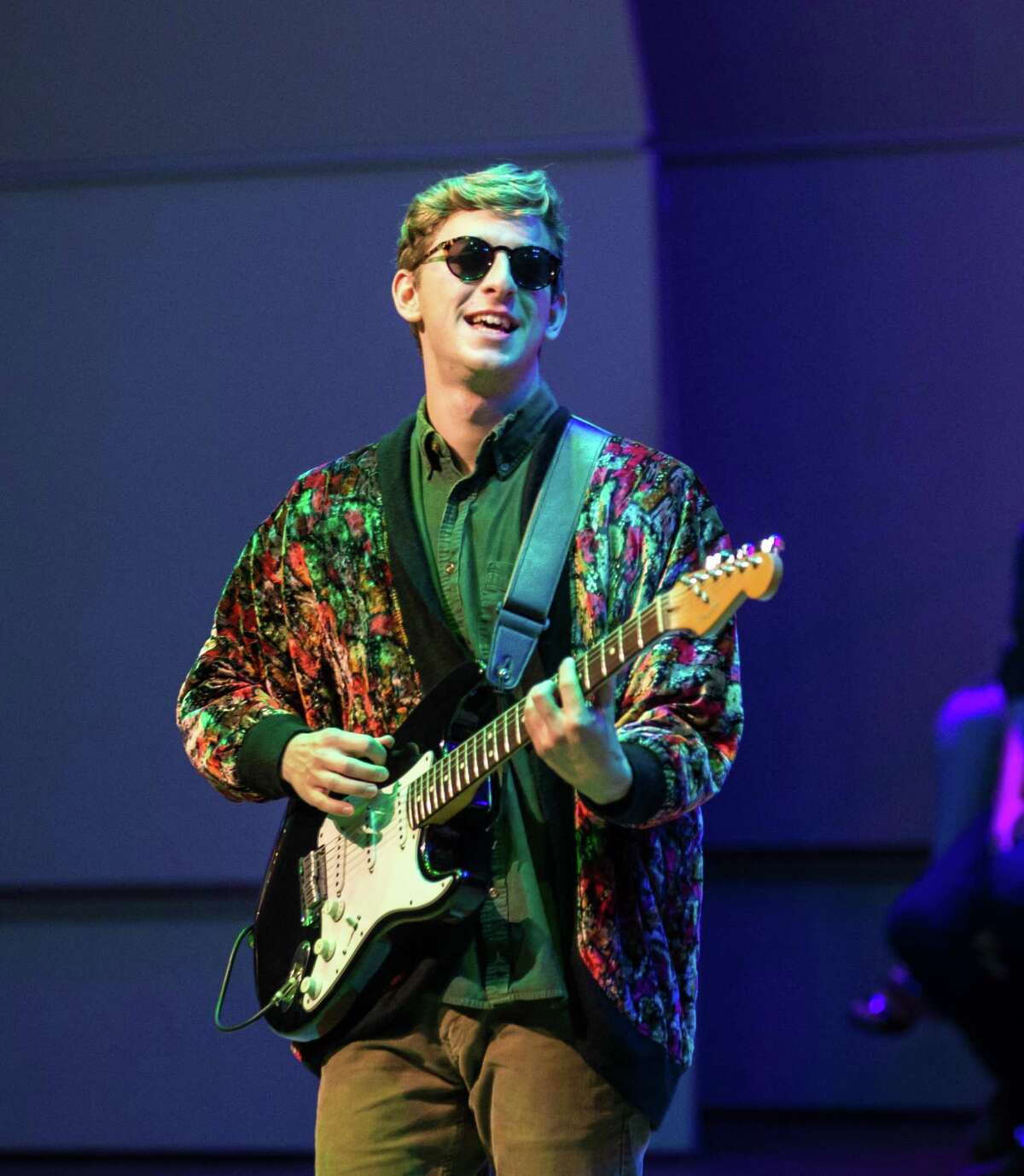 A student performs during last fall's annual Beatlemore Skidmania concert at the Zankel Music Center at Skidmore College in Saratoga Springs. (Christopher Massa/Skidmore College)