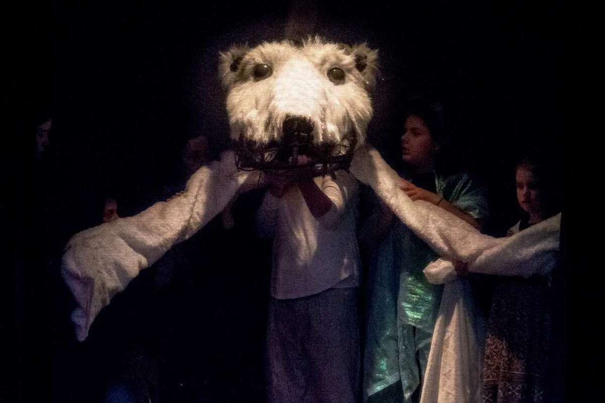 """""""East of the Sun ?- West of the Moon"""" Bear --- The Prince has been turned into a Bear by the Trolls. Bear Puppet ?- created by Jeff Brower and operated by Kim Howland (C) ?- assistants ?- Emily Ryan and Elsa Lamont. Photos by: Tamara Hansen"""