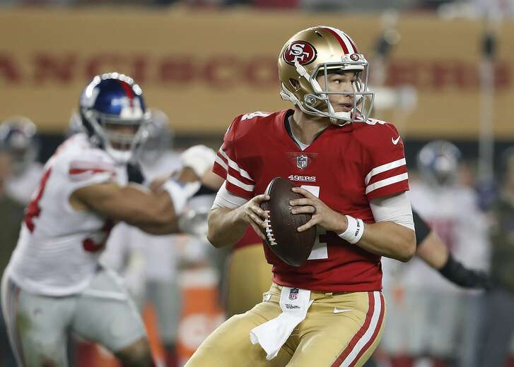 San Francisco 49ers quarterback Nick Mullens (4) passes against the New York Giants during the second half of an NFL football game in Santa Clara, Calif., Monday, Nov. 12, 2018. (AP Photo/Tony Avelar)