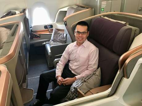 TravelSkills correspondent Tim Jue onboard a brand new Singapore Airlines Airbus A350-900ULR Photo: Tim Jue