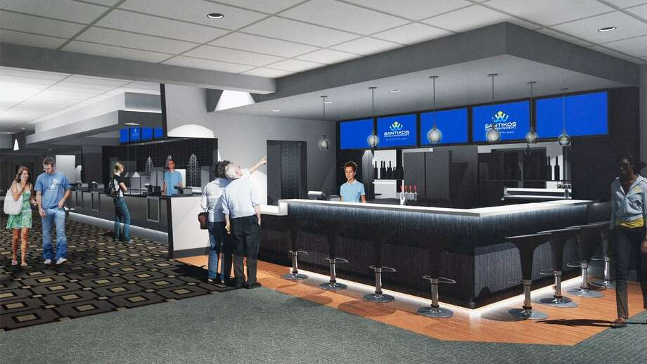 A rendering of what the Santikos Northwest lobby will look like when renovations are finished. The movie theater is slated to partially open Friday. Photo: Courtesy Santikos Entertainment