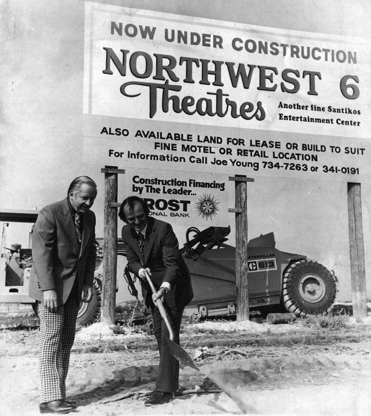 Former city councilman Glen Hartman (left) watches as John Santikos breaks ground for Northwest Six Theatres in 1976.