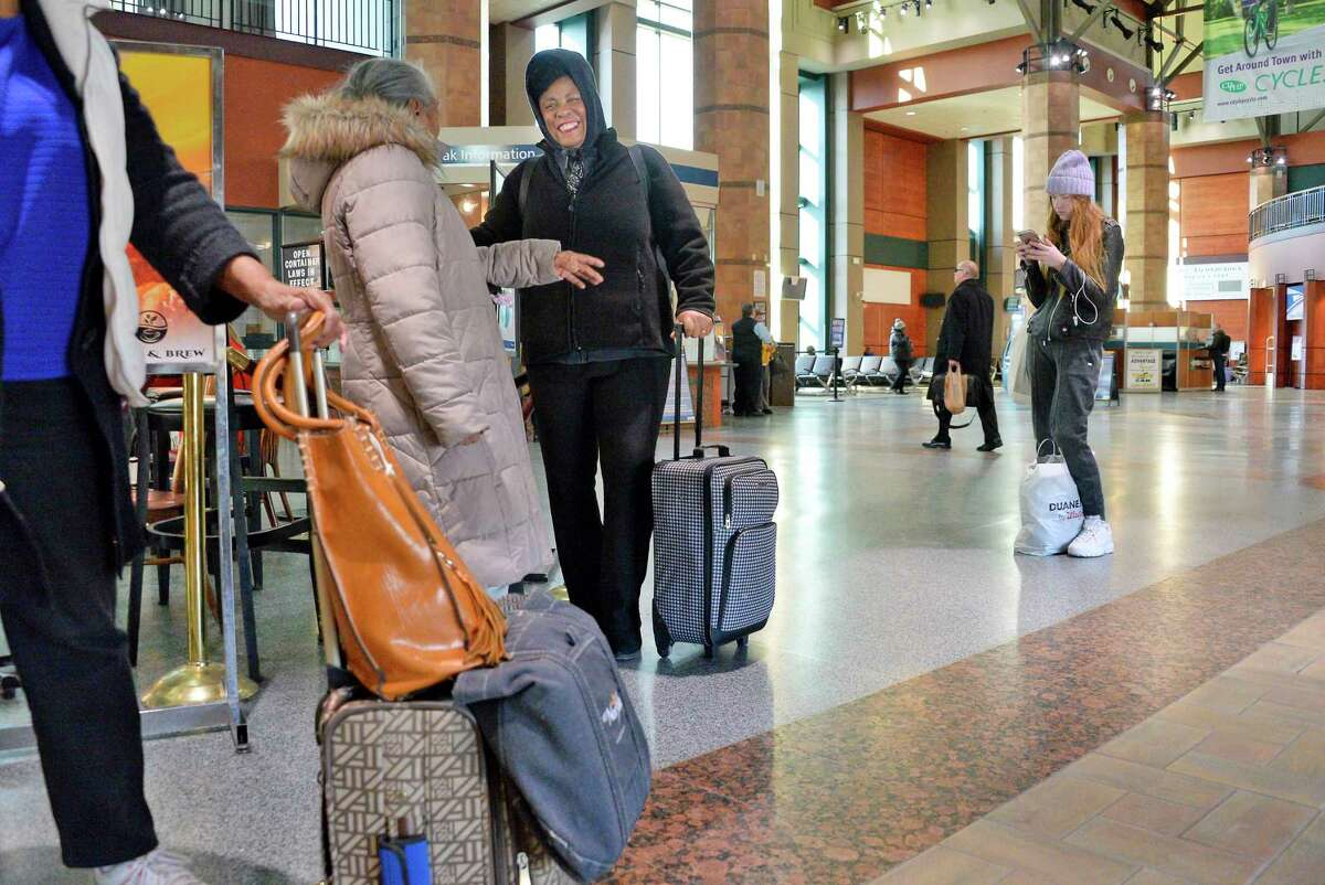 Travelers at the Amtrak station Wednesday Nov. 14, 2018 in Rensselaer, NY. (John Carl D'Annibale/Times Union)