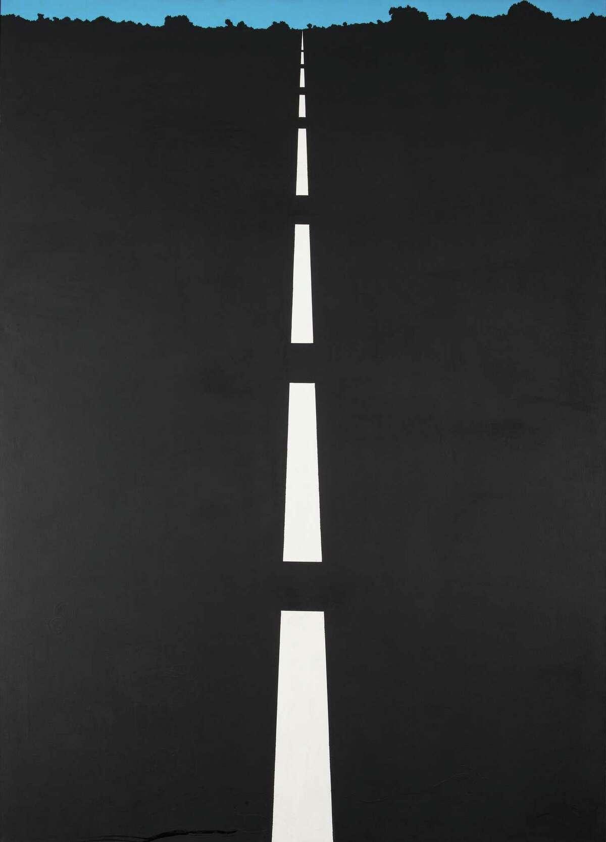 "Allan D'Arcangelo 1965 work ""Highway (NYC)"" hangs at the Housatonic Museum."