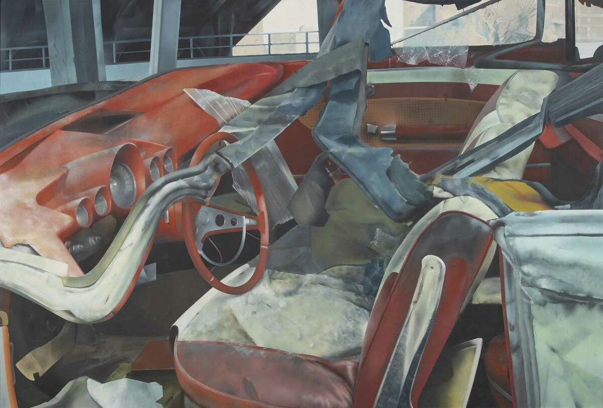 "John Salt's ""Demolished Vehicle Near Bridge, 1970"" hangs at Housatonic Community College in Bridgeport."