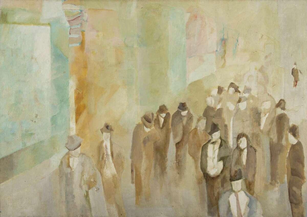 "Ann Chernow's ""Commuters/Composition #8, 1967"" hangs at Housatonic Community College in Bridgeport."