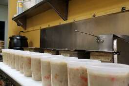 Chicken pot pie soup is lined up and ready for take-out at Soup Thyme in Monroe.