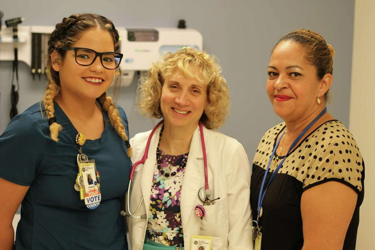 The staff of the asthma clinic at Fair Haven Community Health Center helps people with asthma control their conditions. (L to R) Nurse Fran Torres, Dr. Pamela Kwittken, and care coordinator Nancy Avelo.
