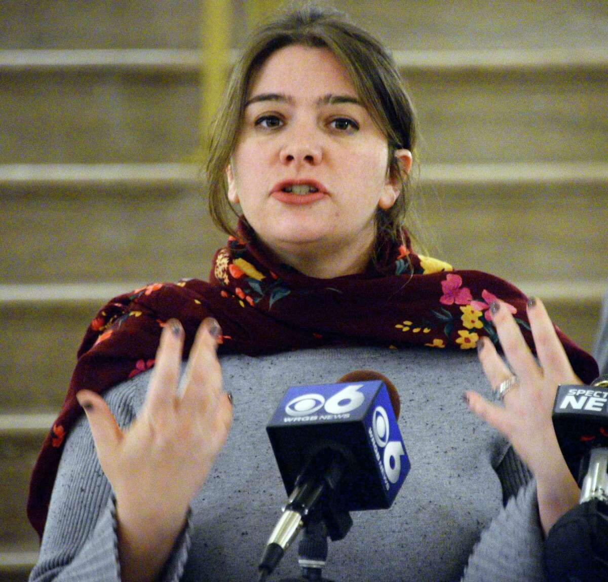 Camille Mackler, director of immigration policy at the New York Immigration Coalition speaks during a news conference to announce the details of a new program designed to assist the immigration population currently being housed at the Albany County Correctional Facility Wednesday Nov. 14, 2018 in Albany, NY. (John Carl D'Annibale/Times Union)