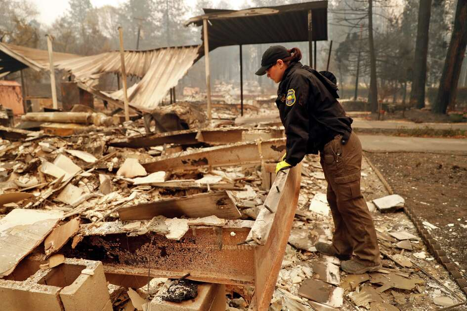 in aftermath of Camp Fire in Paradise, Calif. on Monday, November 12, 2018.