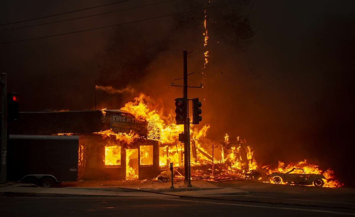 AFTER: The Camp Fire tears through This n That, a consignment shop in Paradise, Calif.