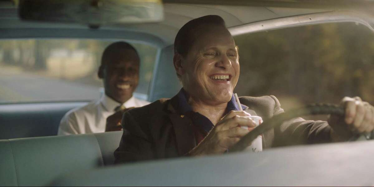 """Viggo Mortensen, foreground, and Mahershala Ali in a scene from """"Green Book,"""" which earned five Golden Globe nominations."""