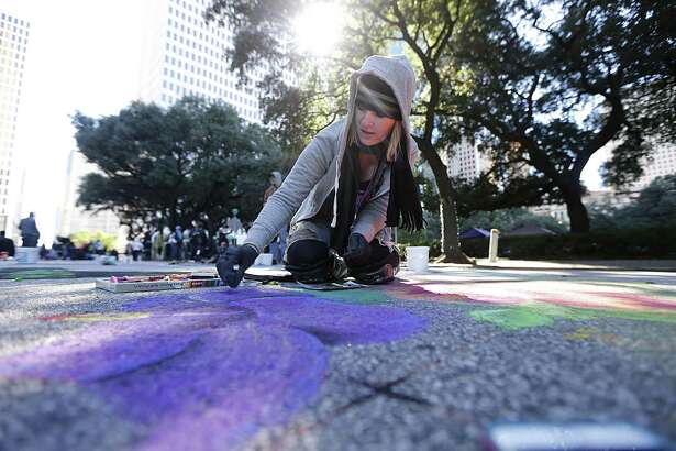 Artists will gather to make chalk art for Houston Via Colori this weekend.