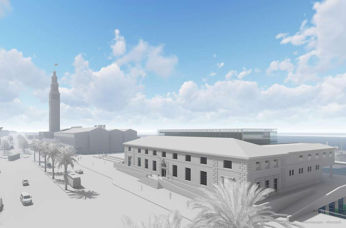 This rendering depicts Pacific Waterfront Partners and Portman Holdings's idea regarding a one-story glass addition and renovation of the former U.S. Agriculture building at 101 The Embarcadero. The result would be a small hotel with a direct view of the Bay Bridge and steps from BART and ferry service. Alternatively, the structure could be converted into around 60,000 square feet of office space, which has been done at other sites like the nearby Ferry Building.