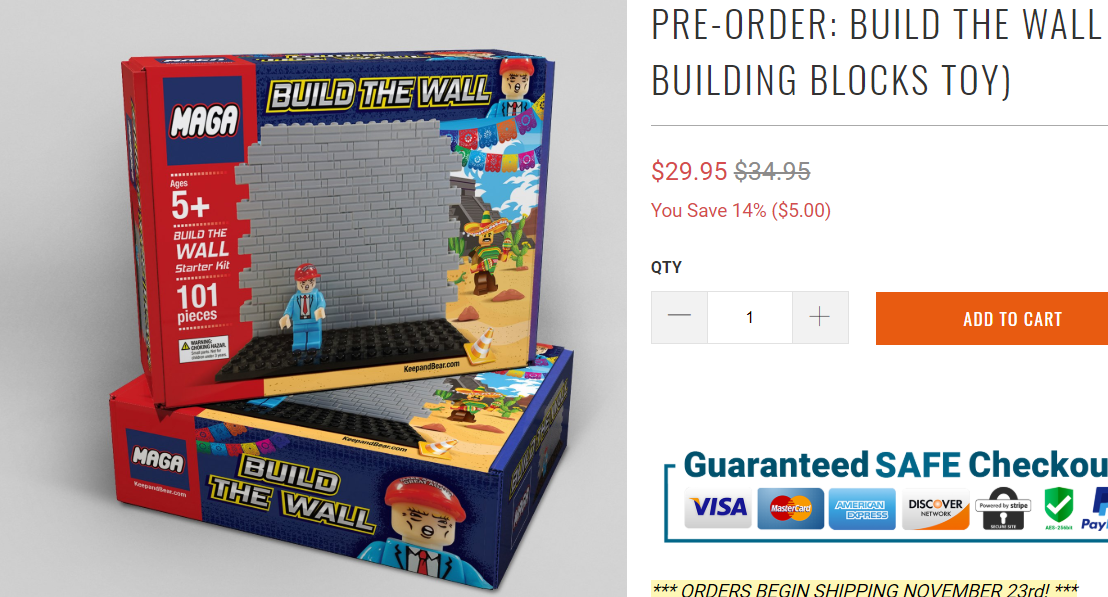 Lego-style 'Build the Wall' toy set the perfect gift for Trump fans