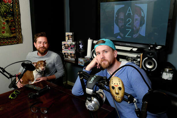 Zach Bowman, left, and Aaron Barnhill host the A2Z Podcast, on which they have in-depth conversations with interesting people in the area. They also host movie night episodes, where they discuss movies as they watch them. Photo taken Tuesday 10/16/18 Ryan Pelham/The Enterprise