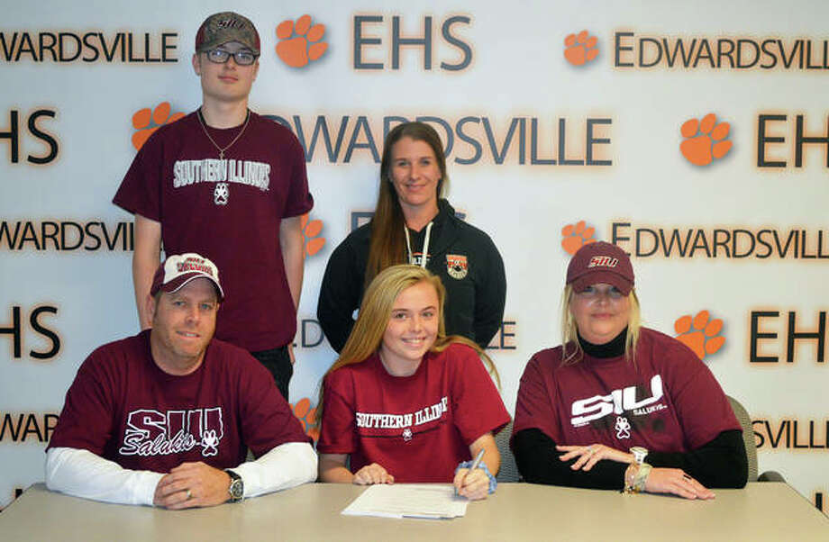 Edwardsville senior Paityn Schneider signed to play soccer at Southern Illinois University Carbondale. In the front row, from left to right, are father Bill Schneider, Paityn Schneider and mother Jill Schneider. In the back row, from left to right, are brother Camdyn Schneider and EHS coach Abby Federmann. Photo: Scott Marion/Intelligencer