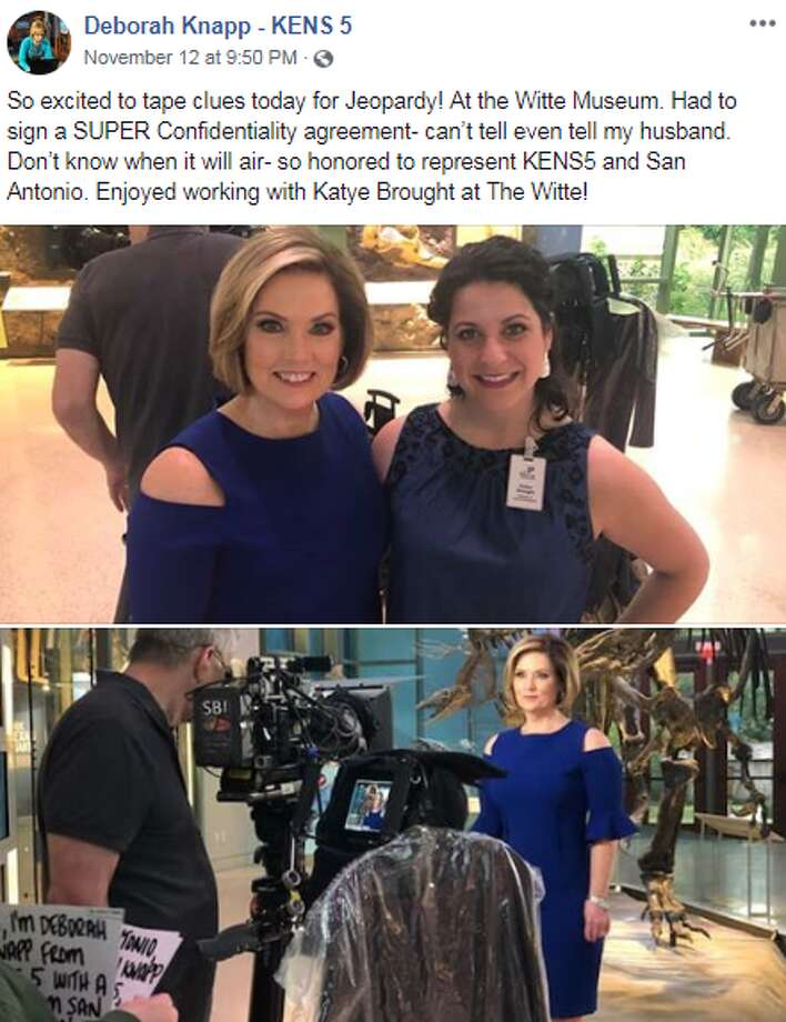 """So excited to tape clues today for Jeopardy! At the Witte Museum. Had to sign a SUPER Confidentiality agreement- can't tell even tell my husband. Don't know when it will air- so honored to represent KENS5 and San Antonio. Enjoyed working with Katye Brought at The Witte,"" Deborah Knapp told her Facebook followers. Photo: Facebook Screengrab"