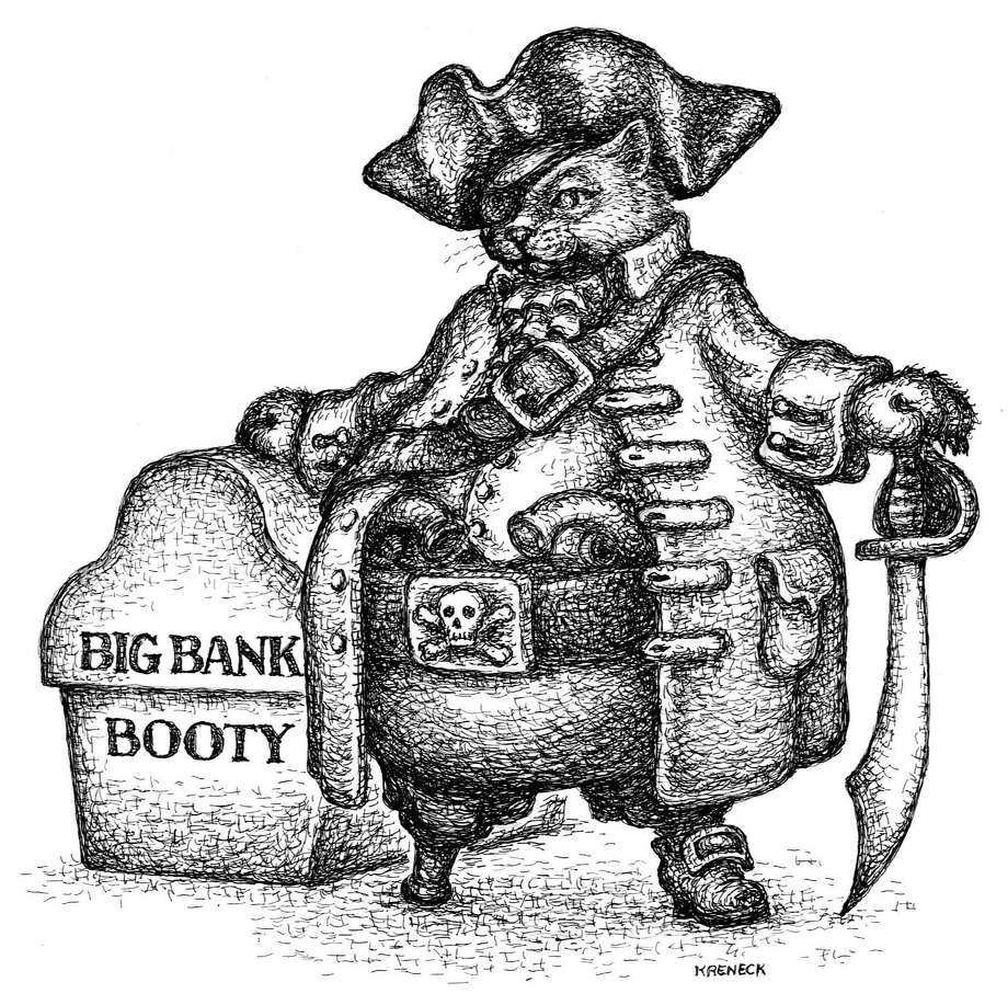This artwork by Kevin Kreneck relates to bankers as pirates. Photo: Tribune Content Agency / Kevin Kreneck