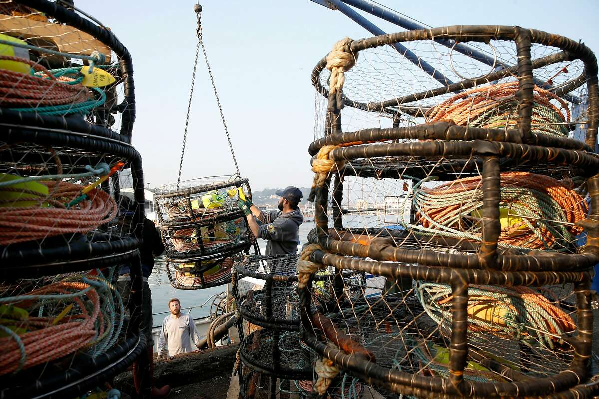 The crew of the New Rayann loads crab pots on the deck of the fishing boat at Pier 45 for the opening of the commercial crab season in San Francisco, Calif. on Wednesday, Nov. 14, 2018.
