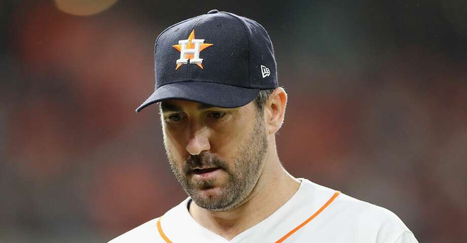 HOUSTON, TX - OCTOBER 18:  Justin Verlander #35 of the Houston Astros reacts in the sixth inning against the Boston Red Sox during Game Five of the American League Championship Series at Minute Maid Park on October 18, 2018 in Houston, Texas.  (Photo by Elsa/Getty Images) Photo: Elsa/Getty Images