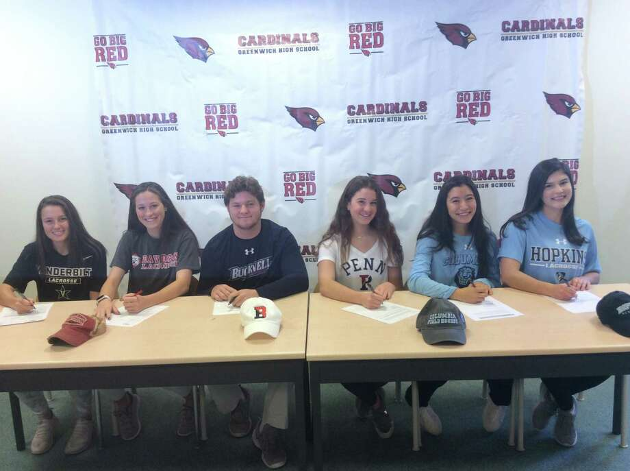 A ceremony was held at Greenwich High School Wednesday morning, recognizing six senior athletes who will continue their respective sports careers at the Division I level in college. Pictured from left to right: Paige Finneran (Vanderbilt lacrosse), Grace Fahey (Davidson lacrosse), Jack Feda (Bucknell lacrosse), Maddie Muldoon (University of Pennsylvania diving), Zoe Metalios (Columbia field hockey) and Olivia Caan (Johns Hopkins lacrosse). Photo: Contributed Photo / Contributed Photo / Greenwich Time Contributed