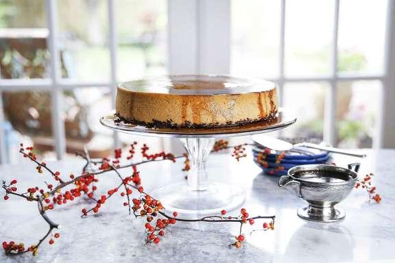Pumpkin Cheesecake With Pumpkin Reduction Sauce from Ruben Ortega of Backstreet Cafe