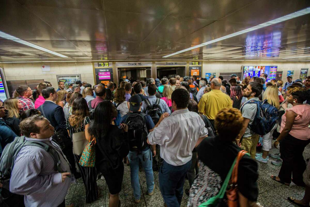 Commuters during evening rush hour at Pennsylvania Station in New York, July 10, 2017. (Hiroko Masuike/The New York Times)