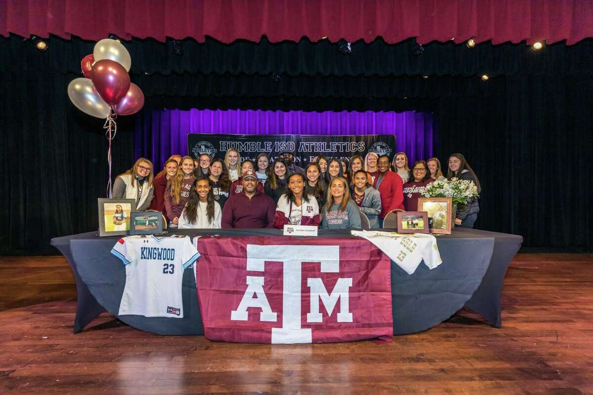 Kingwood's Jourdyn Campbell signs to play softball at Texas A&M-University on National Signing Day on Nov. 14, 2018 at Charles Bender Performing Arts Center.