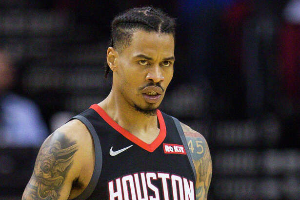 Houston Rockets guard Gerald Green (14) reacts after hitting a three pointer during the first half of an NBA basketball game between the Houston Rockets and Utah Jazz, Wednesday, Oct. 24, 2018 in Houston.