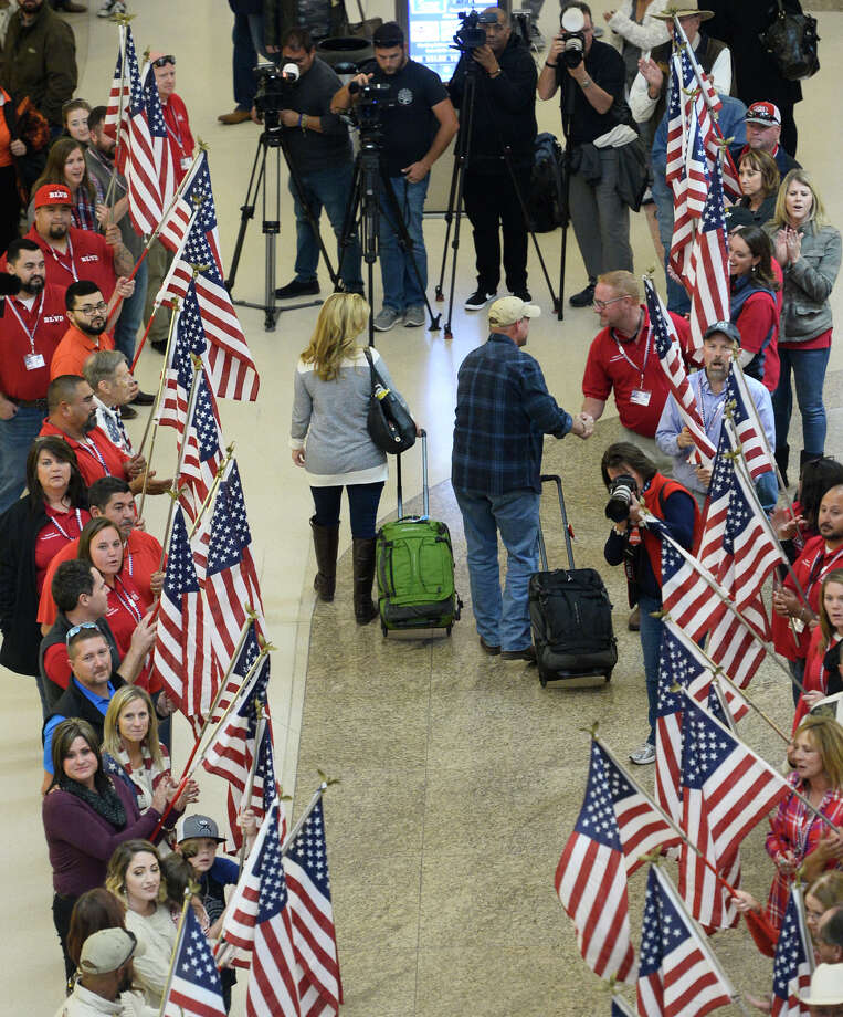 Veterans and spouses participating in the Hunt For Heroes program were given a welcoming ceremony Nov. 14, 2018, at Midland International Air and Space Port.  James Durbin/Reporter-Telegram Photo: James Durbin / ? 2018 Midland Reporter-Telegram. All Rights Reserved.